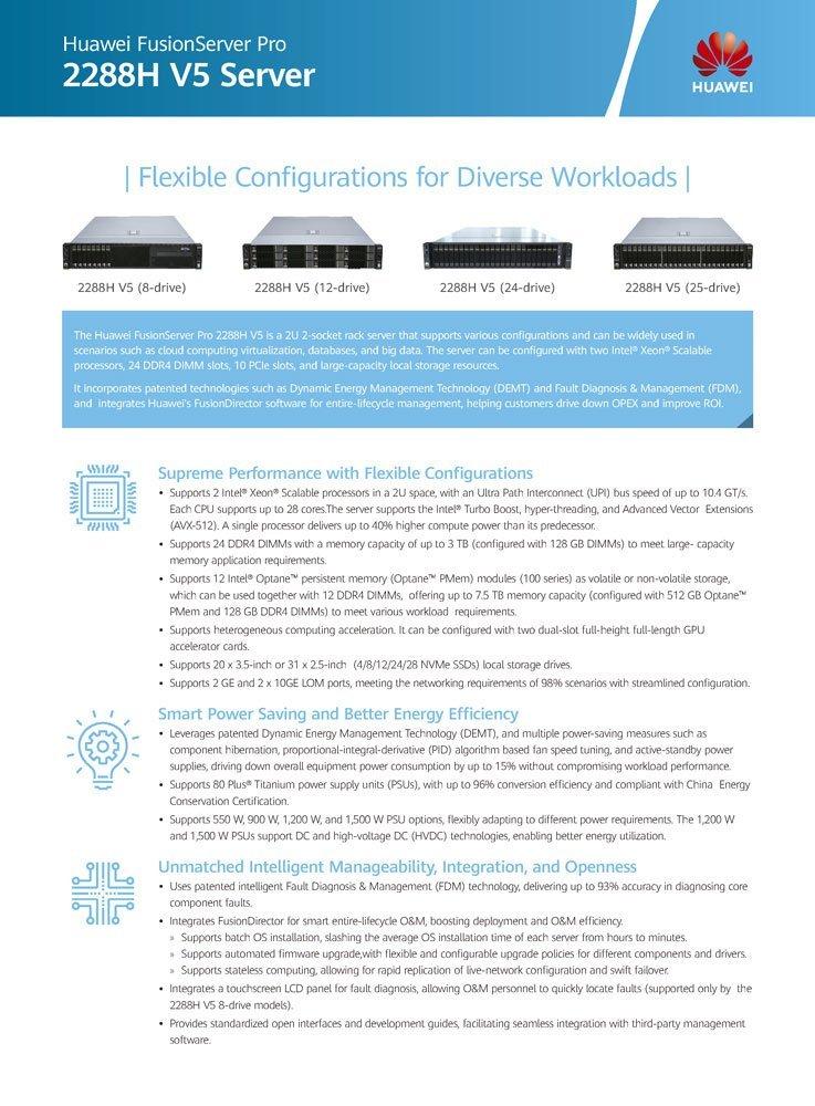Datasheet Servidor Huawei FusionServer 2288H V5
