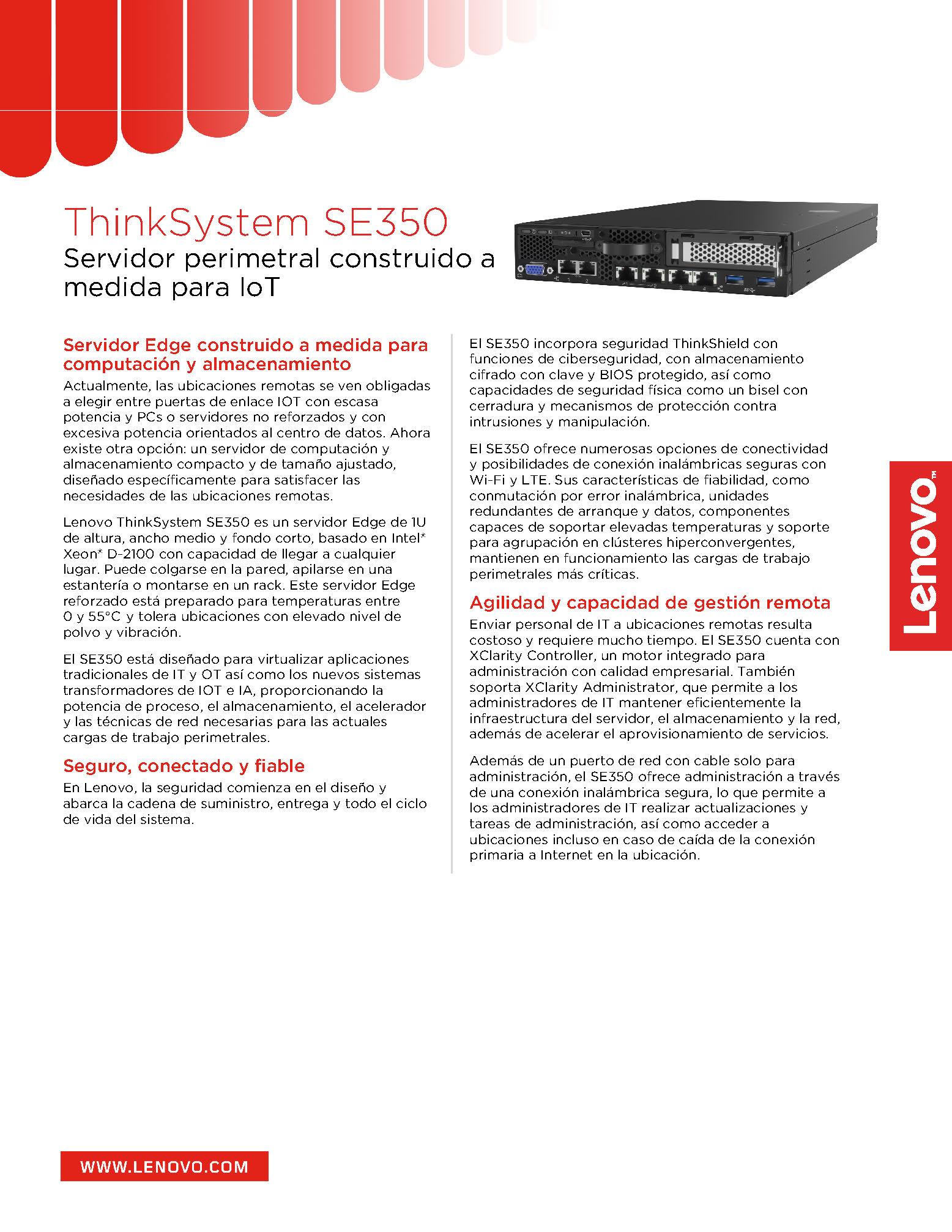 Servidor ThinkSystem SE350 Edge